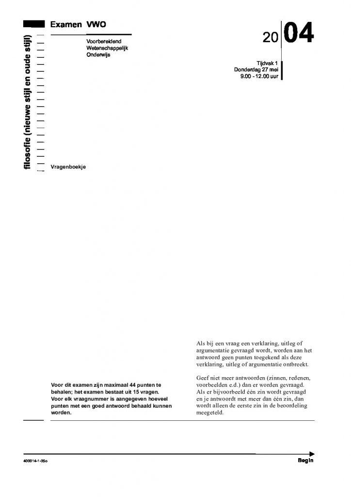 ethics community - Centraal Examen VWO filosofie 2004