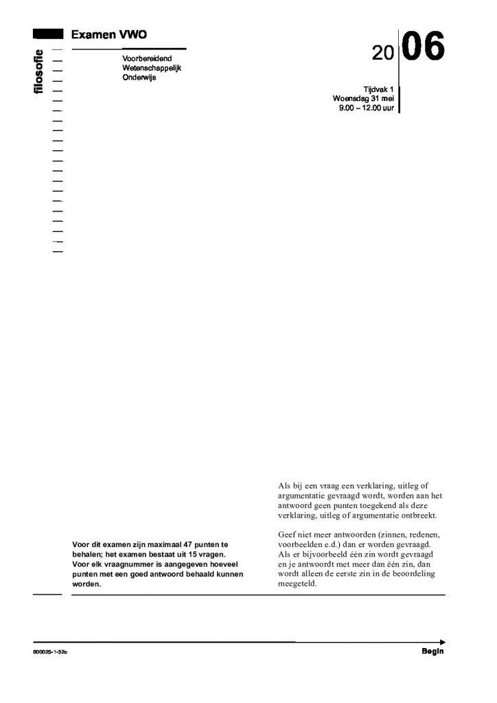 ethics community - Centraal Examen VWO filosofie 2006